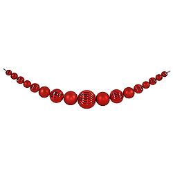 6 Foot Red Shiny And Matte Round Ornament Garland