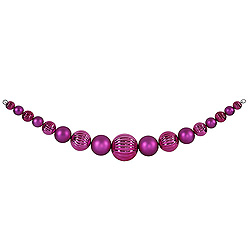 6 Foot Magenta Shiny And Matte Round Ornament Garland