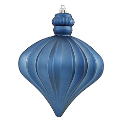 5.5 Inch Sea Blue Shiny And Matte Onion Ornament