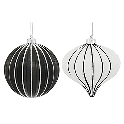 4 Inch Black And White Onion And Round Assorted Ornament Box of 9