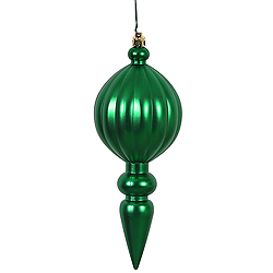 8 Inch Green Matte Finial Christmas Ornament Shatterproof UV Set of 6