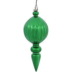8 Inch Green Shiny Finial Christmas Ornament Shatterproof UV Set of 6