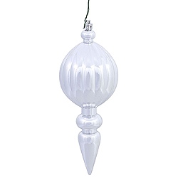 8 Inch Silver Shiny Finial Christmas Ornament Shatterproof UV Set of 6