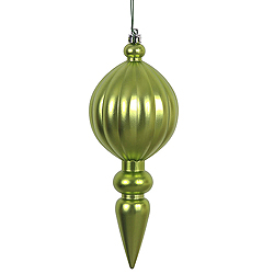 8 Inch Lime Green Matte Finial Christmas Ornament Shatterproof UV Set of 6