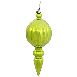 8 Inch Lime Green Shiny Finial Christmas Ornament Shatterproof UV Set of 6