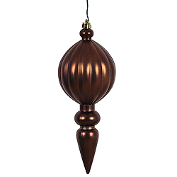 8 Inch Chocolate Brown Matte Finial Christmas Ornament Shatterproof UV Set of 6