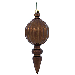 8 Inch Chocolate Brown Shiny Finial Christmas Ornament Shatterproof UV Set of 6
