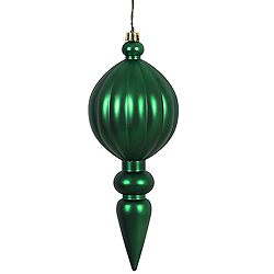 8 Inch Emerald Matte Finial Christmas Ornament Shatterproof UV Set of 6