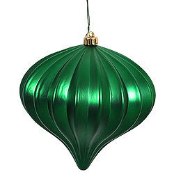 5.7 Inch Green Matte Onion Ornament 3 per Set
