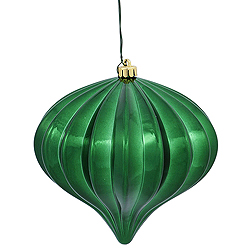 5.7 Inch Green Shiny Onion Ornament 3 per Set
