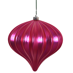 5.7 Inch Magenta Matte Onion Ornament 3 per Set