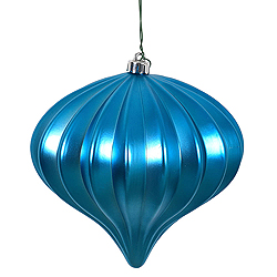 5.7 Inch Turquoise Matte Onion Ornament 3 per Set
