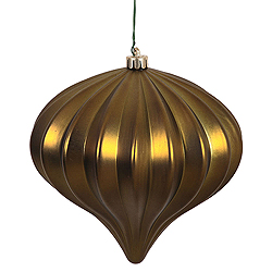 5.7 Inch Olive Matte Onion Ornament 3 per Set