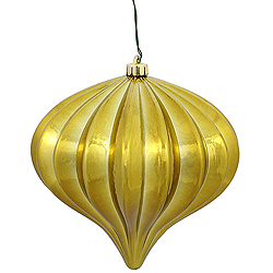 5.7 Inch Olive Shiny Onion Ornament 3 per Set