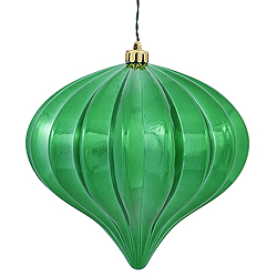 5.7 Inch Emerald Shiny Onion Ornament 3 per Set