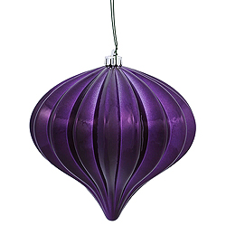 5.7 Inch Plum Shiny Onion Ornament 3 per Set