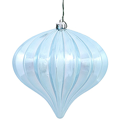 5.7 Inch Baby Blue Shiny Onion Ornament 3 per Set