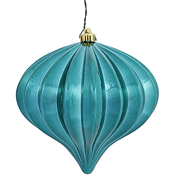 5.7 Inch Teal Shiny Onion Ornament 3 per Set