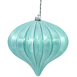 5.7 Inch Seafoam Shiny Onion Ornament 3 per Set