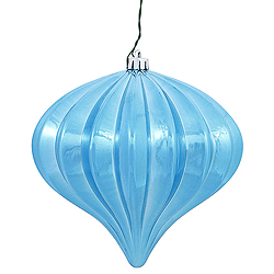 5.7 Inch Sea Blue Shiny Onion Ornament 3 per Set