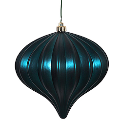 5.7 Inch Midnight Green Matte Onion Ornament 3 per Set
