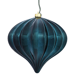 5.7 Inch Midnight Green Shiny Onion Ornament 3 per Set