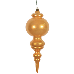 9.5 Inch Antique Gold Candy Finish Finial Christmas Ornament Shatterproof UV 2 per Set