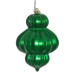 6 Inch Green Candy Lantern Ornament Box of 3