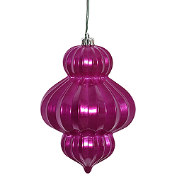 6 Inch Magenta Candy Lantern Ornament 3 per Set