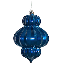 6 Inch Sea Blue Candy Lantern Ornament Box of 3