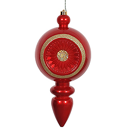 15.75 Inch Red Candy Diamond Reflector Christmas Finial Ornament Shatterproof UV