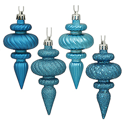 4 Inch Turquoise Christmas Finial Ornament Assorted Finishes Set of 8 Shatterproof