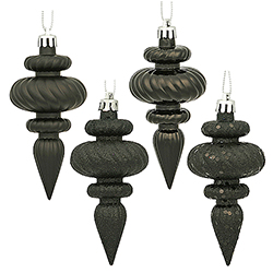 4 Inch Black Christmas Finial Ornament Assorted Finishes Set of 8 Shatterproof