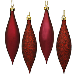 5.5 Inch Burgundy Drop Ornament Assorted Finishes 8 per Set