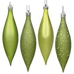 5.5 Inch Lime Drop Ornament Assorted Finishes 8 per Set