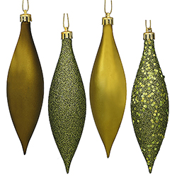 5.5 Inch Olive Drop Ornament Assorted Finishes 8 per Set