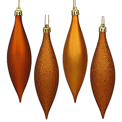 5.5 Inch Burnish Orange Drop Ornament Assorted Finishes 8 per Set
