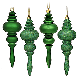 7 Inch Green Finial Assorted Finishes Christmas Ornament Shatterproof Set of 8