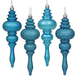 7 Inch Turquoise Finial Assorted Finishes Christmas Ornament Shatterproof Set of 8
