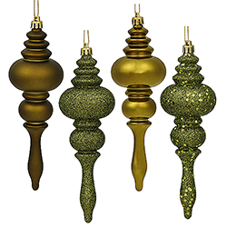 7 Inch Olive Finial Assorted Finishes Christmas Ornament Shatterproof Set of 8