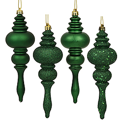 7 Inch Emerald Finial Assorted Finishes Christmas Ornament Shatterproof Set of 8