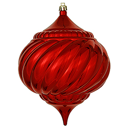 5.9 Inch Red Shiny Onion Swirl Ornament 4 per Set