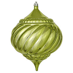 5.9 Inch Lime Shiny Onion Swirl Ornament