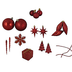 Value 125 Piece Red Assorted Christmas Ornament Set