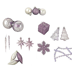 Value 125 Piece Lavender Assorted Christmas Ornament Set