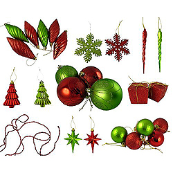 Value 125 Piece Red and Kiwi Green Assorted Christmas Ornament Set