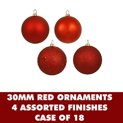 1 Inch Assorted Red Plastic Ornaments - Set Of 18