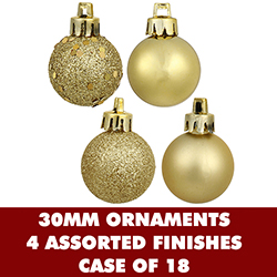 1 Inch Assorted Gold Plastic Ornaments - Box Of 18