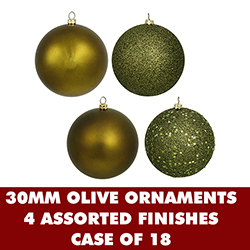 1 Inch Assorted Olive Finish Christmas Balls - Set Of 18