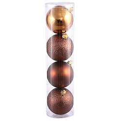 1 Inch Mocha Round Ornaments - Assorted Finishes - Box Of 18